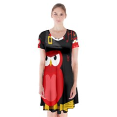 Who Is A Witch?   Red Short Sleeve V Neck Flare Dress by Valentinaart