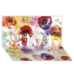 Watercolor Spring Flowers Background #1 Dad 3d Greeting Card (8x4)