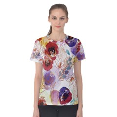 Watercolor Spring Flowers Background Women s Cotton Tee