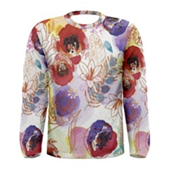Watercolor Spring Flowers Background Men s Long Sleeve Tee