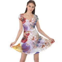 Watercolor Spring Flowers Background Cap Sleeve Dresses