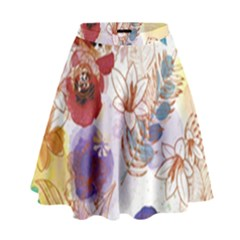 Watercolor Spring Flowers Background High Waist Skirt by TastefulDesigns