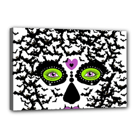 Bat Lady Sugar Skull Canvas 18  X 12  by burpdesignsA