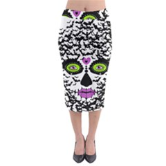 BAT LADY SUGAR SKULL Midi Pencil Skirt by burpdesignsA