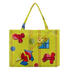Playful Day   Yellow  Medium Tote Bag by Valentinaart