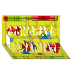 Playful Day   Yellow  Congrats Graduate 3d Greeting Card (8x4) by Valentinaart