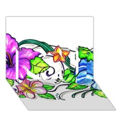 Tropical Hibiscus Flowers I Love You 3d Greeting Card (7x5) by EverIris