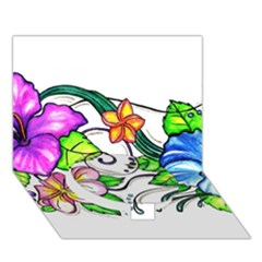 Tropical Hibiscus Flowers Circle Bottom 3d Greeting Card (7x5) by EverIris