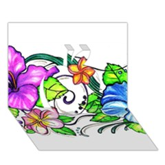 Tropical Hibiscus Flowers Apple 3d Greeting Card (7x5) by EverIris