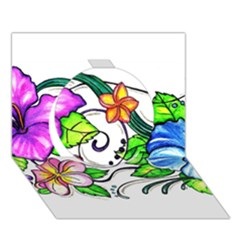 Tropical Hibiscus Flowers Circle 3d Greeting Card (7x5) by EverIris
