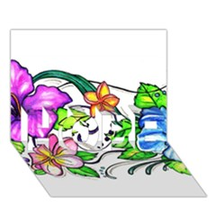 Tropical Hibiscus Flowers Hope 3d Greeting Card (7x5)