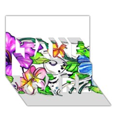 Tropical Hibiscus Flowers Take Care 3d Greeting Card (7x5) by EverIris