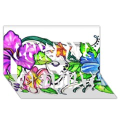 Tropical Hibiscus Flowers Congrats Graduate 3d Greeting Card (8x4)
