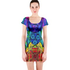 Arcturian Conjunction Grid   Short Sleeve Bodycon Dress by tealswan