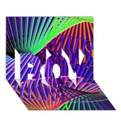 Colorful Rainbow Helix Boy 3d Greeting Card (7x5)