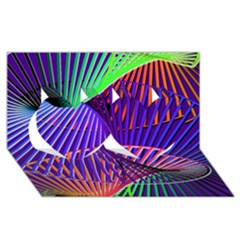 Colorful Rainbow Helix Twin Hearts 3d Greeting Card (8x4) by designworld65