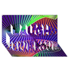 Colorful Rainbow Helix Laugh Live Love 3d Greeting Card (8x4) by designworld65