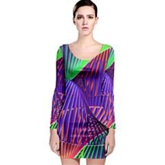 Colorful Rainbow Helix Long Sleeve Bodycon Dress by designworld65