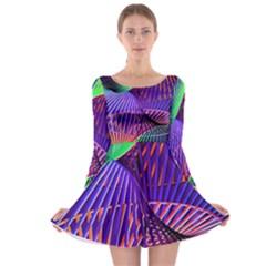 Colorful Rainbow Helix Long Sleeve Skater Dress by designworld65