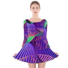 Colorful Rainbow Helix Long Sleeve Velvet Skater Dress by designworld65