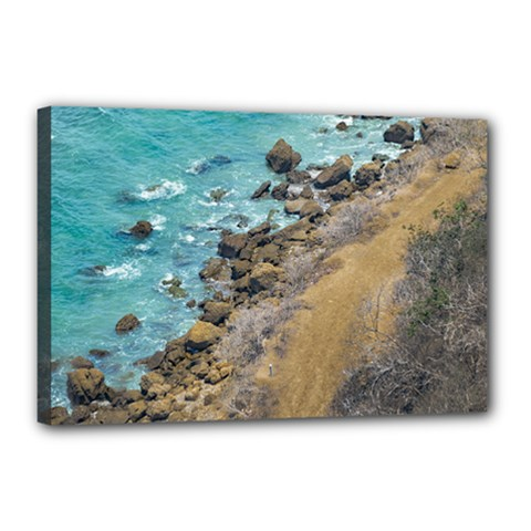Aerial View Pacific Ocean Coastline Puerto Lopez Ecuador Canvas 18  X 12  by dflcprints
