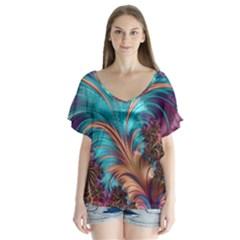 Feather Fractal Artistic Design Flutter Sleeve Top