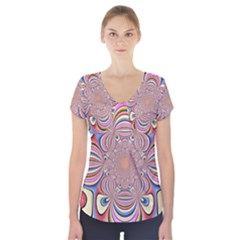 Pastel Shades Ornamental Flower Short Sleeve Front Detail Top