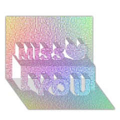Rainbow Colorful Grid Miss You 3d Greeting Card (7x5) by designworld65