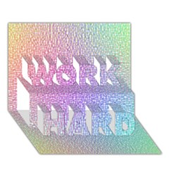 Rainbow Colorful Grid Work Hard 3d Greeting Card (7x5) by designworld65