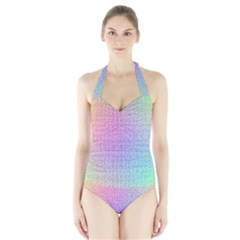 Rainbow Colorful Grid Halter Swimsuit by designworld65