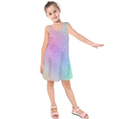 Rainbow Colorful Grid Kids  Sleeveless Dress by designworld65