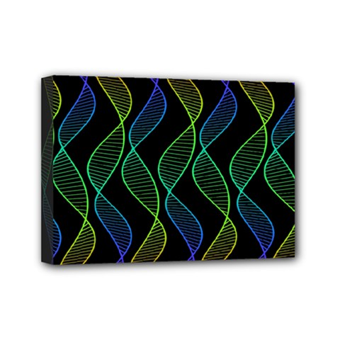 Rainbow Helix Black Mini Canvas 7  X 5  by designworld65