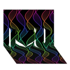 Rainbow Helix Black I Love You 3d Greeting Card (7x5)