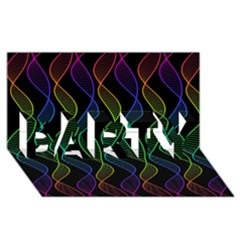Rainbow Helix Black Party 3d Greeting Card (8x4) by designworld65