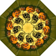 Halloween, Funny Pumpkins And Skull With Spider Folding Umbrellas by FantasyWorld7