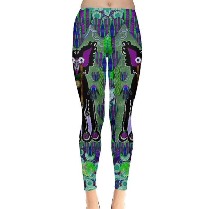 Lady Draccula With Flower Ghost And Love Leggings
