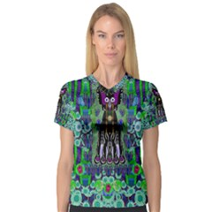 Lady Draccula With Flower Ghost And Love Women s V Neck Sport Mesh Tee by pepitasart