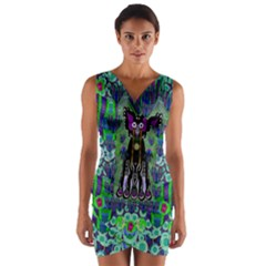 Lady Draccula With Flower Ghost And Love Wrap Front Bodycon Dress