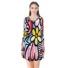 Abstract Doodle Flare Dress