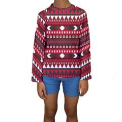 Asterey Red Pattern Kids  Long Sleeve Swimwear