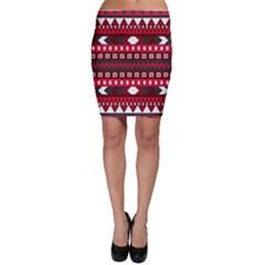 Asterey Red Pattern Bodycon Skirt