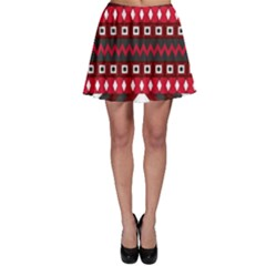 Asterey Red Pattern Skater Skirt