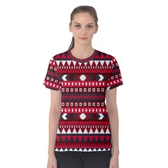 Asterey Red Pattern Women s Cotton Tee