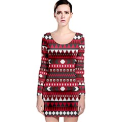 Asterey Red Pattern Long Sleeve Bodycon Dress