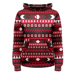 Asterey Red Pattern Women s Pullover Hoodie