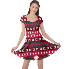 Asterey Red Pattern Cap Sleeve Dresses