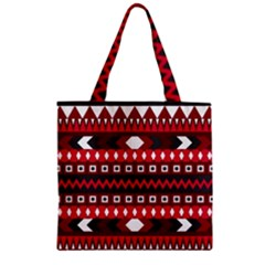 Asterey Red Pattern Zipper Grocery Tote Bag