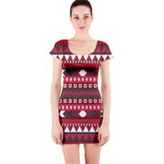 Asterey Red Pattern Short Sleeve Bodycon Dress