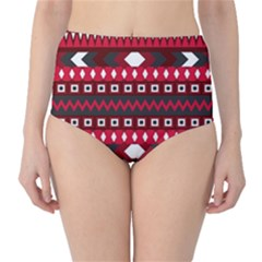 Asterey Red Pattern High Waist Bikini Bottoms