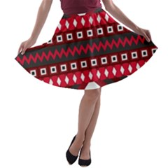 Asterey Red Pattern A Line Skater Skirt
